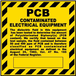 PCB Contaminated Equipment Label