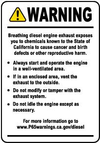 Diesel Engine Exposure Warning Label
