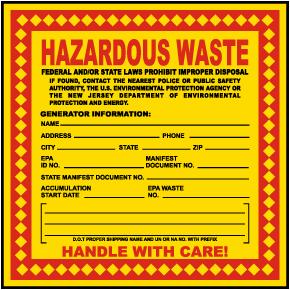 NJ Hazardous Waste Label