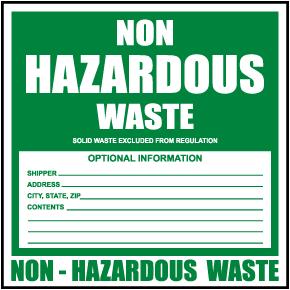 Non Hazardous Waste Label
