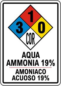 Bilingual NFPA Aqua Ammonia 19% 3-1-0 Sign