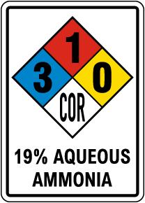 NFPA 19% Aqueous Ammonia 3-1-0-COR Sign