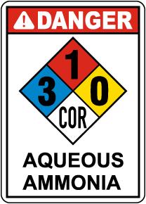 NFPA Danger Aqueous Ammonia 3-1-0-COR Sign