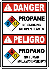 Bilingual NFPA Danger Propane 2-4-0 No Smoking No Open Flames Sign