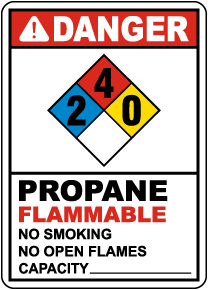 NFPA Danger Propane 2-4-0 Flammable Sign