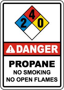 NFPA Danger Propane 2-4-0 No Smoking No Open Flames Sign