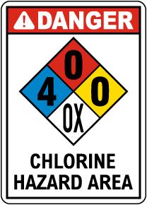 NFPA Danger Chlorine Hazard Area 4-0-0-OX Sign