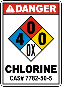 NFPA Danger Chlorine 4-0-0-OX Sign