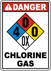 NFPA Danger Chlorine Gas 4-0-0-OX Sign