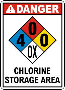 NFPA Danger Chlorine Storage Area 4-0-0-OX Sign
