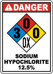 NFPA Danger Sodium Hypochlorite 12.5% 3-0-0-OX Sign