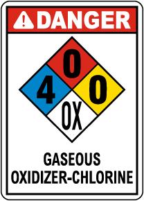 NFPA Danger Gaseous Oxidizer-Chlorine 4-0-0-OX Sign