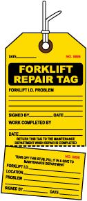 Forklift Repair Tag