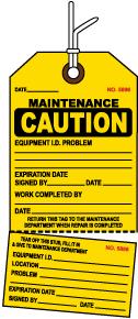Caution Maintenance Tag