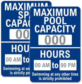 Custom Pool and Spa Sign — Capacity and Hours