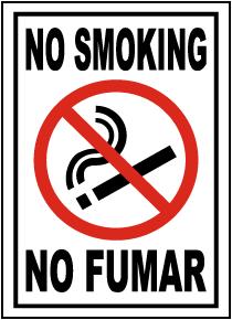 Bilingual No Smoking Label