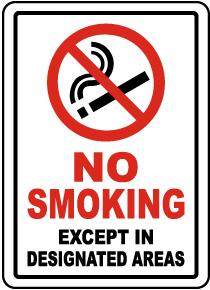 No Smoking Except In Designated Areas Label