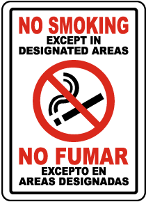 Bilingual No Smoking Except In Designated Areas Label