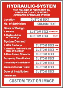 Custom Hydraulic System Location Sign