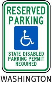 Washington Accessible Parking Sign