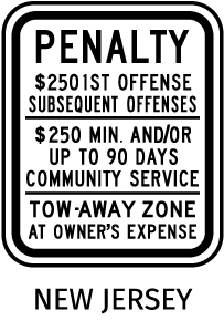 New Jersey Accessible Parking Penalty Sign