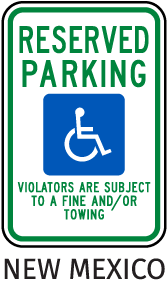 New Mexico Reserved Parking Sign