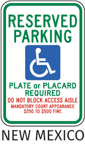 New Mexico Reserved Parking Placard Required Sign