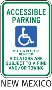 New Mexico Handicap Parking Sign