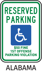 Alabama Accessible Parking Sign