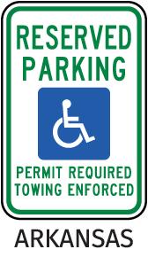 Arkansas Accessible Parking Sign