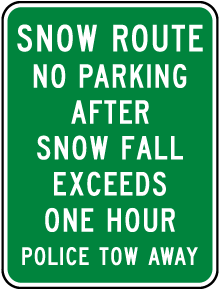 Snow Route No Parking Sign
