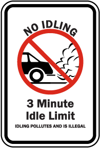 No Idling 3 Minute Idle Limit Sign