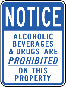 Alcohol, Drugs Prohibited Sign