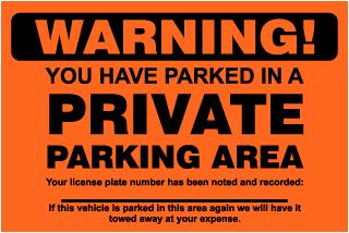 Private Parking Area Violation Sticker