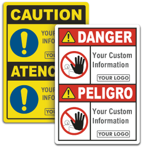 Custom Bilingual ANSI & OSHA Headers, Text & Image Options