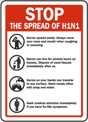 Stop The Spread of Swine Flu Sign