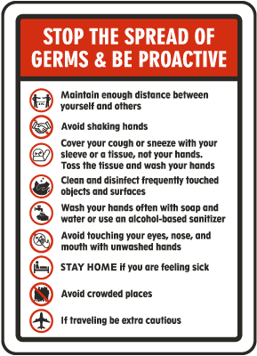 Stop The Spread of Germs & Be Proactive Sign