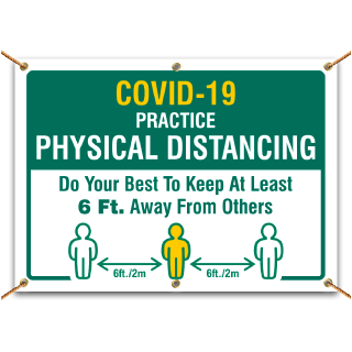 Covid-19 Practice Physical Distancing Banner