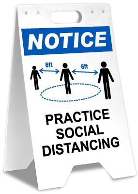 Notice Practice Social Distancing Floor Stand