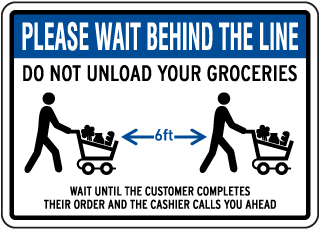 Please Wait Behind the Line Sign
