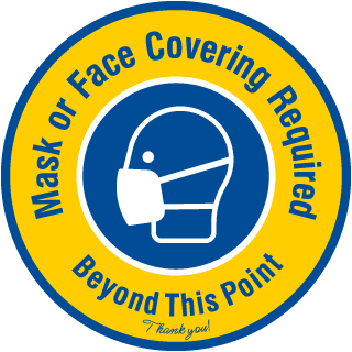 Mask or Face Covering Required Floor Sign