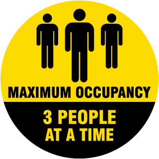 Three People Maximum Occupancy Floor Sign
