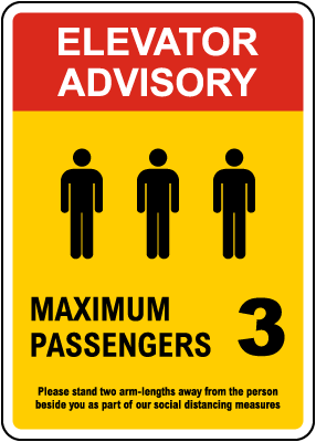 Elevator Advisory, Max 3 Passengers Sign