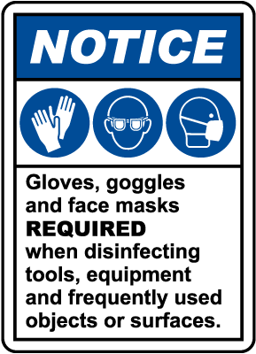 Notice Gloves, Goggles, And Face Masks Required Sign