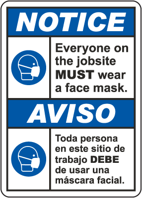Bilingual Notice Wear A Face Mask Sign