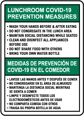Bilingual Lunchroom COVID-19 Prevention Measures Sign