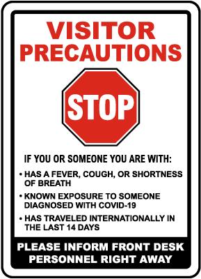 Visitor Precautions Inform Personnel of Symptoms Sign
