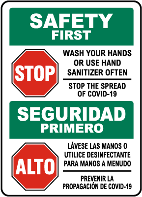 Bilingual Safety First Wash Your Hands Use Hand Sanitizer Sign