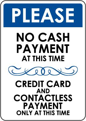 No Cash Payment Sign