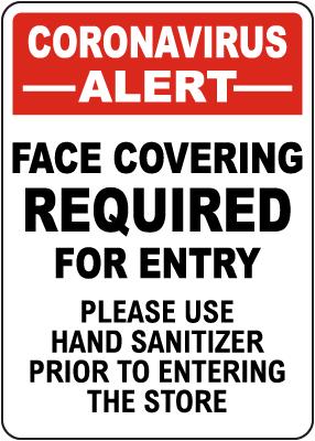 Coronavirus Face Covering Sign